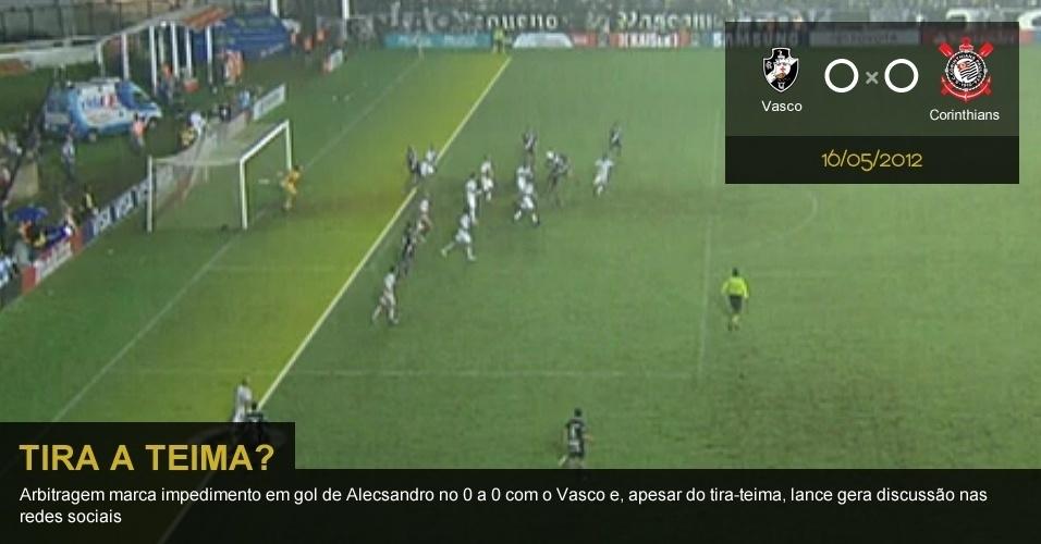 .16/05/2012 - Vasco 0 x 0 Corinthians: Arbitragem marca impedimento em gol de Alecsandro no 0 a 0 com o Vasco e, apesar do tira-teima, lance gera discussão nas redes sociais