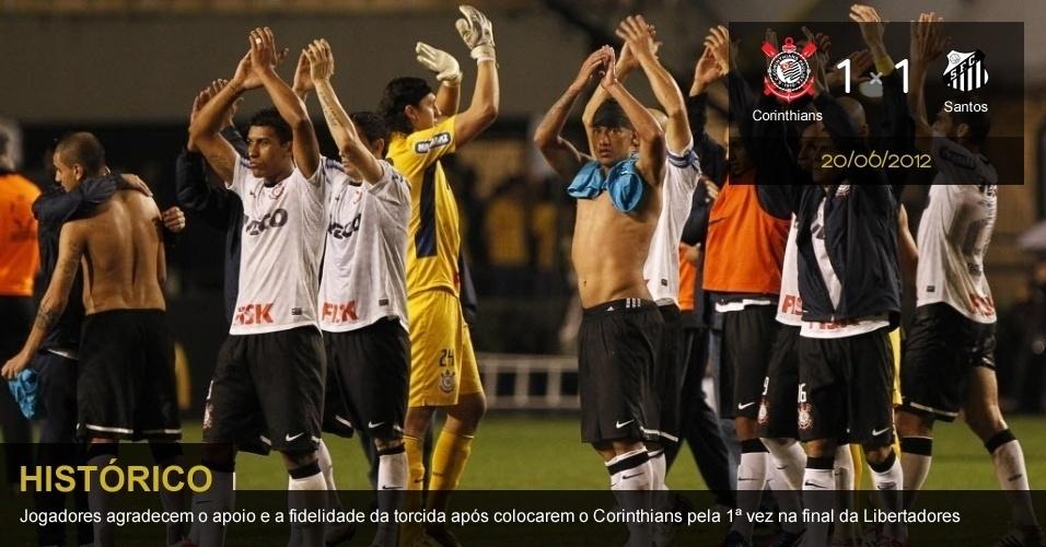 .20/06/2012 - Corinthians 1 x 1 Santos: Jogadores agradecem o apoio e a fidelidade da torcida após colocarem o Corinthians pela 1ª vez na final da Libertadores