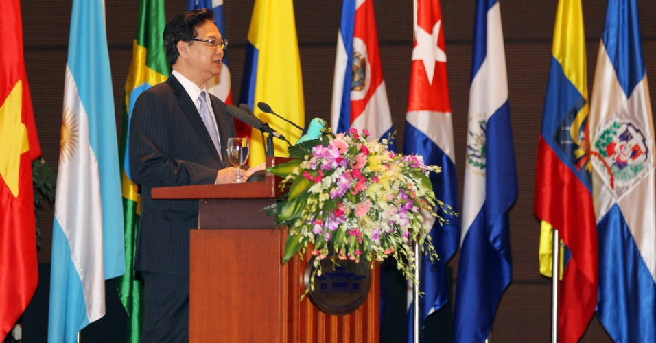 5.jul.2012 - O primeiro-ministro vietnamita, Nguyen Tan Dung, discursa na capital Han&#243;i, em cerim&#244;nia de inaugura&#231;&#227;o do F&#243;rum Vietn&#227;-Am&#233;rica-Latina sobre com&#233;rcio e investimento