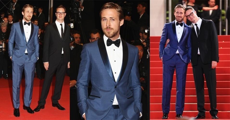 """São nas ocasiões mais formais, como a première de """"Drive"""" em Cannes, que o ator mostra ousadia nos looks. Fugido do tradicional terno preto, o ator usou um modelo azul com lapela de cetim, camisa branca com botões pretos e gravata borboleta"""