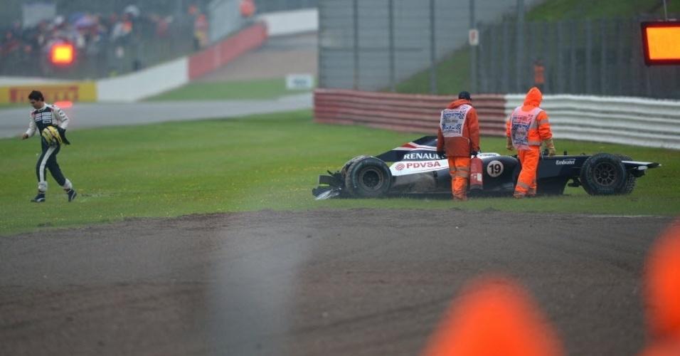 Bruno Senna não participou do primeiro treino e acabou batendo sua Williams na segunda sessão
