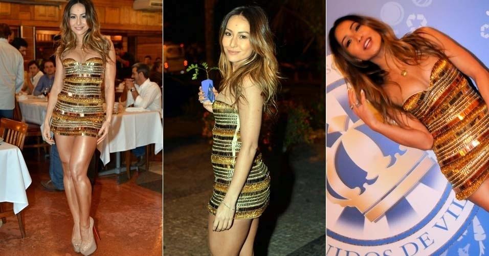 Com vestido curto e cheio de brilho, a apresentadora Sabrina Sato participa de festa no Rio de Janeiro (5/7/12)