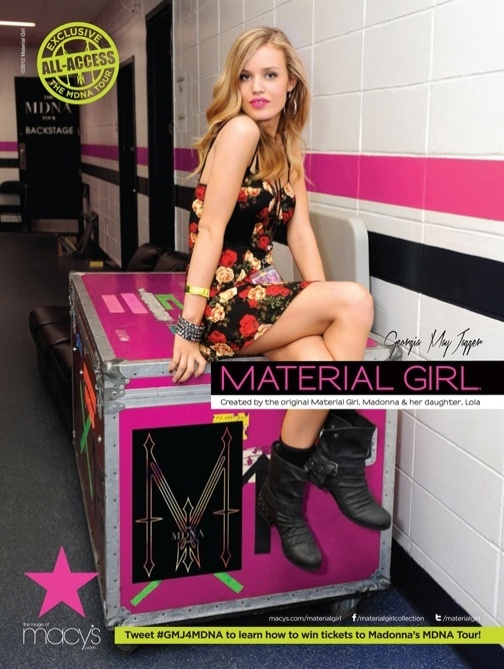 Georgia May Jagger na campanha da Material Girl, marca da cantora Madonna com a filha Lourdes Maria