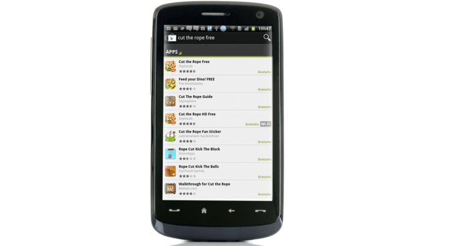 Smartphone com tela do sistema Android