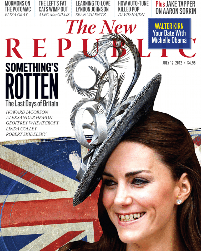 A revista americana &#34;The New Republic&#34; modificou digitalmente a apar&#234;ncia de Kate Middleton em sua capa deste m&#234;s. O t&#237;tulo, que diz &#34;Algo est&#225; podre. Os &#250;ltimos dias da Gr&#227;-Bretanha&#34;  &#233; uma reclama&#231;&#227;o aos altos gastos com as Olimp&#237;adas de Londres. De acordo com o jornal &#34;Daily Mail&#34;, a imagem foi manipulada para &#34;mostrar o estere&#243;tipo ingl&#234;s na vis&#227;o dos americanos&#34; (7/7/12)
