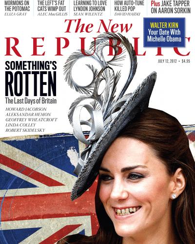 """A revista americana """"The New Republic"""" modificou digitalmente a aparência de Kate Middleton em sua capa deste mês. O título, que diz """"Algo está podre. Os últimos dias da Grã-Bretanha""""  é uma reclamação aos altos gastos com as Olimpíadas de Londres. De acordo com o jornal """"Daily Mail"""", a imagem foi manipulada para """"mostrar o estereótipo inglês na visão dos americanos"""" (7/7/12)"""