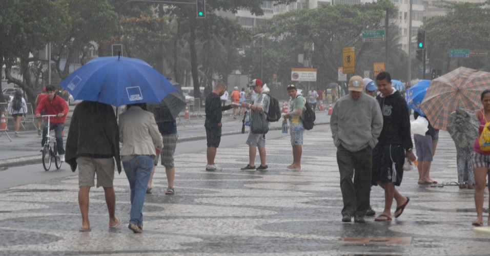 8.jul.2012 - Rio de Janeiro amanhece com muita chuva e frio neste domingo (8), na Praia de Copacabana