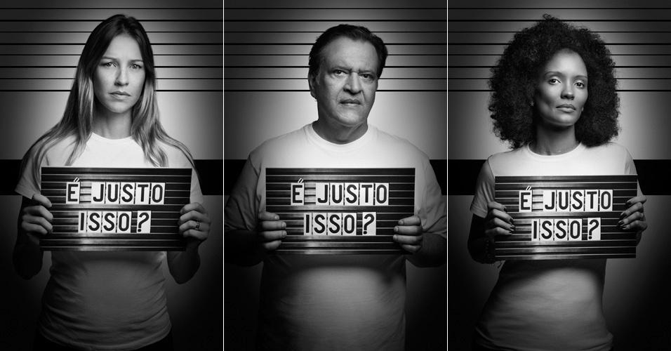 As atrizes Luana Piovani (à esq) e Isabel Fillardis e o ator Luís Melo são alguns dos rostos da nova campanha