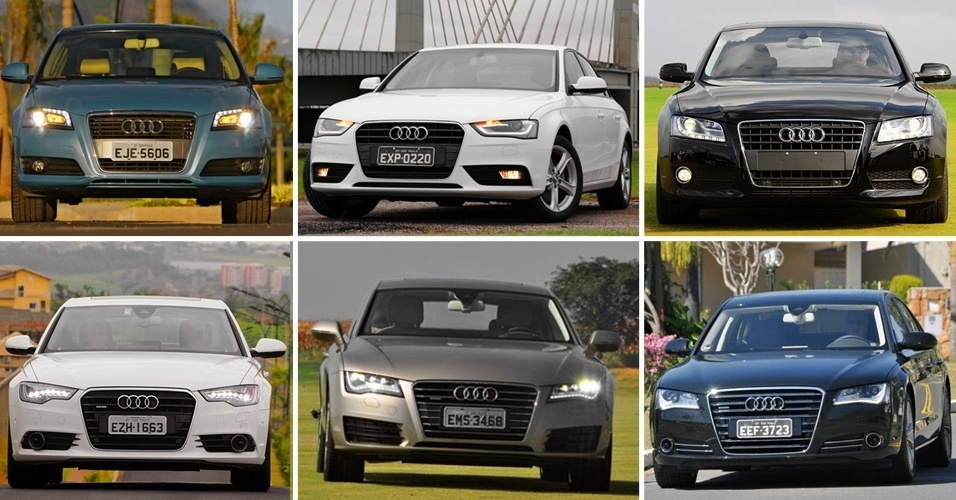 Audi A3, A4, A5, A6, A7 e A8, na ordem, mostram como são parecidos