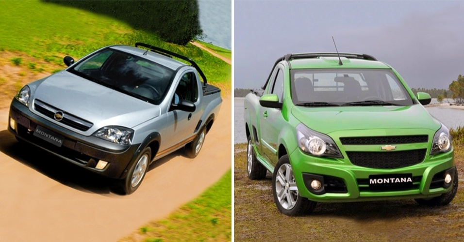 Chevrolet Montana de primeira geração (esq.) e nova Montana