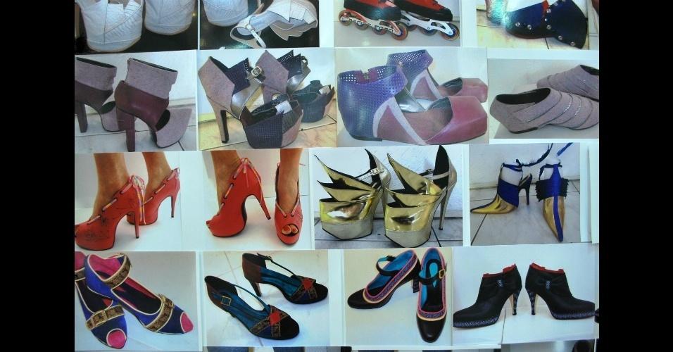 Fotos na loja Au Bottier mostram modelos confeccionados sob encomenda