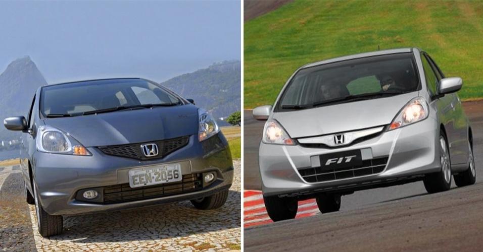 Honda Fit antes da reestilização e novo Honda Fit 2013