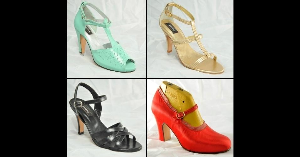 Modelos de sapatos femininos confeccionados na sapataria Gomes, na zona norte fluminense