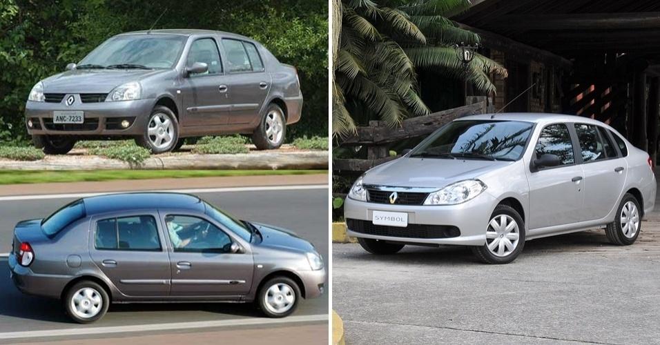 Nosso Renault Clio Sedã (esq.) nem existia na Europa, mas era mais elegante que o esculhambado Symbol, fracasso de vendas