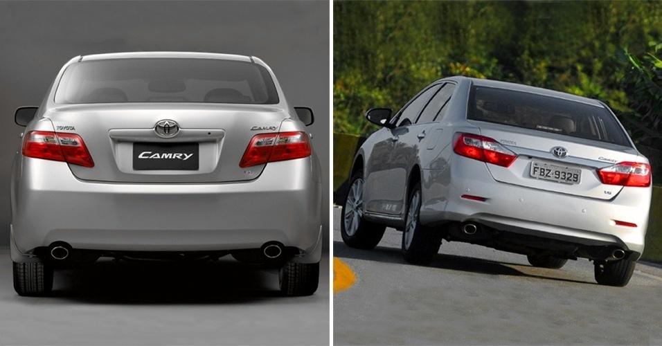 Toyota Camry de geração anterior (esq.) parecia mais caro e robusto que o novo modelo