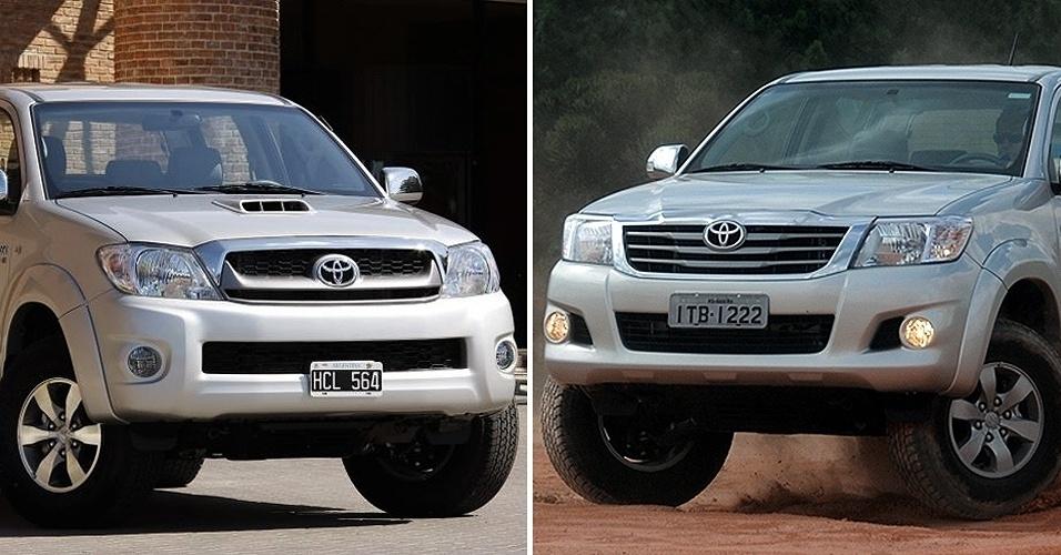 Toyota Hilux e o modelo 2012 (dir.)