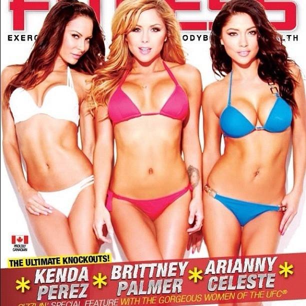 Trio de ring girls do UFC, Kenda Perez, Brittney Palmer e Arianny Celeste mostram a boa forma de biquni em capa da revista canadense 