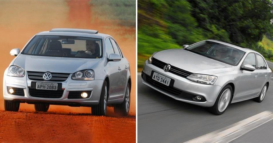 VW Jetta com a frente do Golf VI europeu tinha mais personalidade que a nova geração (dir.)