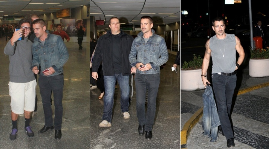 Colin Farrell desembarcou no aeroporto internacional do Rio, zona norte do Rio (11/7/12)