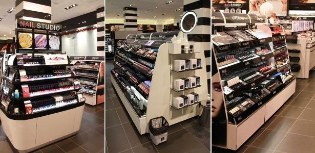 Expositores com maquiagens e esmaltes no interior da primeira loja da Sephora no Brasil, no shopping JK Iguatemi, em São Paulo