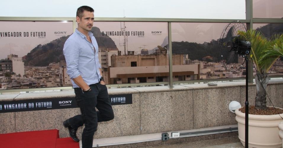 """Colin Farrell apresentou à imprensa """"O Vingador do Futuro"""" no Hotel Marriot, em Copacabana, no Rio de Janeiro (12/7/12)"""