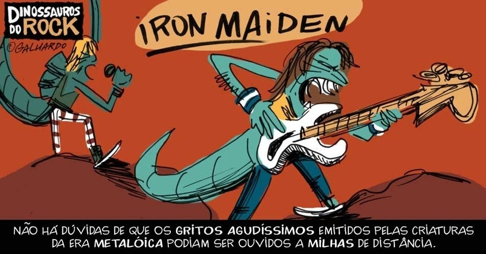 No Dia Mundial do Rock, Caco Galhardo homenageia Dinossauros do Rock, como Iron Maiden