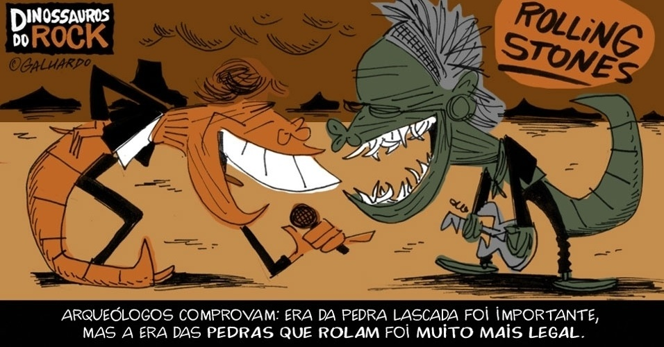 No Dia Mundial do Rock, Caco Galhardo homenageia Dinossauros do Rock, como os Rolling Stones