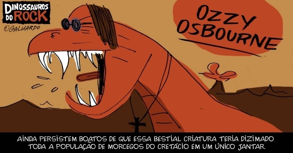 No Dia Mundial do Rock, Caco Galhardo homenageia Dinossauros do Rock, como Ozzy Osbourne
