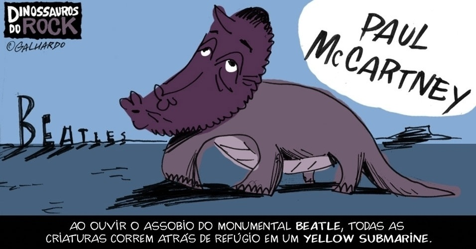 No Dia Mundial do Rock, Caco Galhardo homenageia Dinossauros do Rock, como Paul McCartney