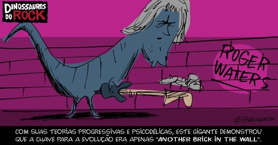 No Dia Mundial do Rock, Caco Galhardo homenageia Dinossauros do Rock, como Roger Waters