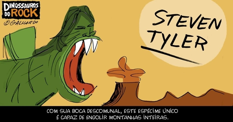 No Dia Mundial do Rock, Caco Galhardo homenageia Dinossauros do Rock, como Steven Tyler