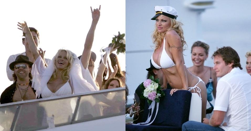 Pamela Anderson, conhecida por se envolver com roqueiros, se casou em Saint Tropez com Kid Rock. Na cerimônia, a atriz usou um modelo justo e curto. Já na festa, ela optou por um biquíni cortininha branco (29.07.2006)