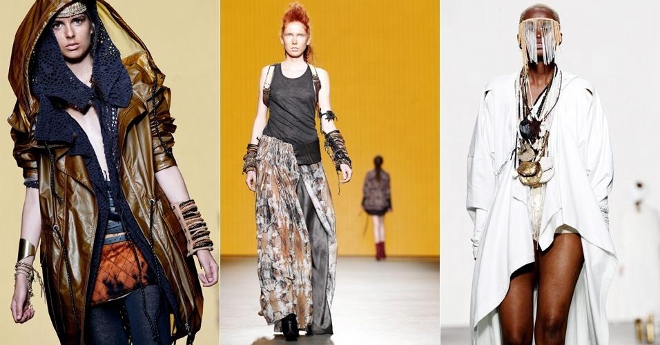 Sobreposições marcaram as peças desfiladas por Roya Hesam durante a semana de moda de Amsterdã. O evento acontece entre 11 e 15 de julho na capital holandesa (12/07/2012)