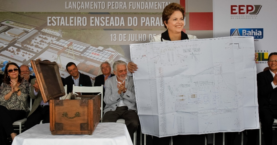 13.jul.2012-A presidente Dilma Rousseff participa nesta sexta-feira &#40;13&#41; do lan&#231;amento da pedra fundamental do estaleiro Enseada do Paragua&#231;u, em Maragojipe &#40;BA&#41;