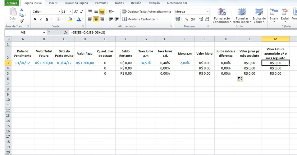 Excel cartão de crédito