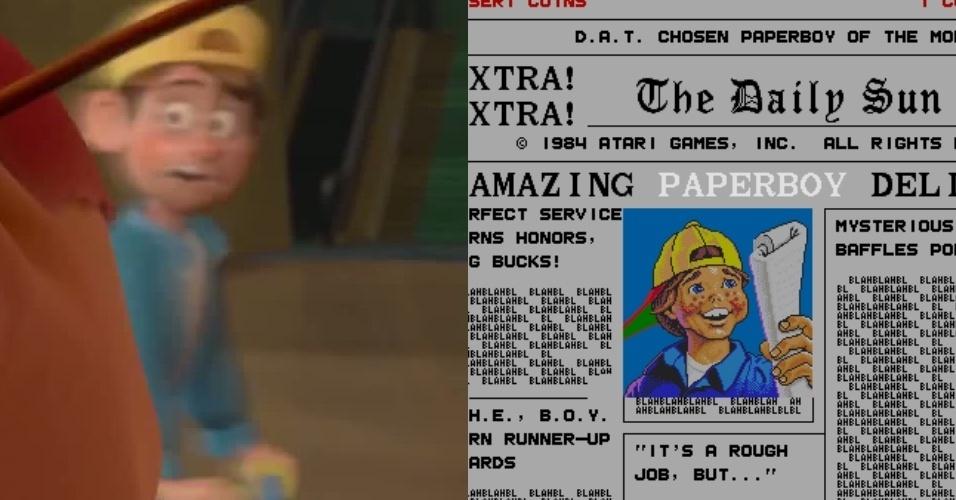 """O menino de bicicleta que passa correndo atrás de Ralph é certamente o mesmo de """"Paper Boy"""""""