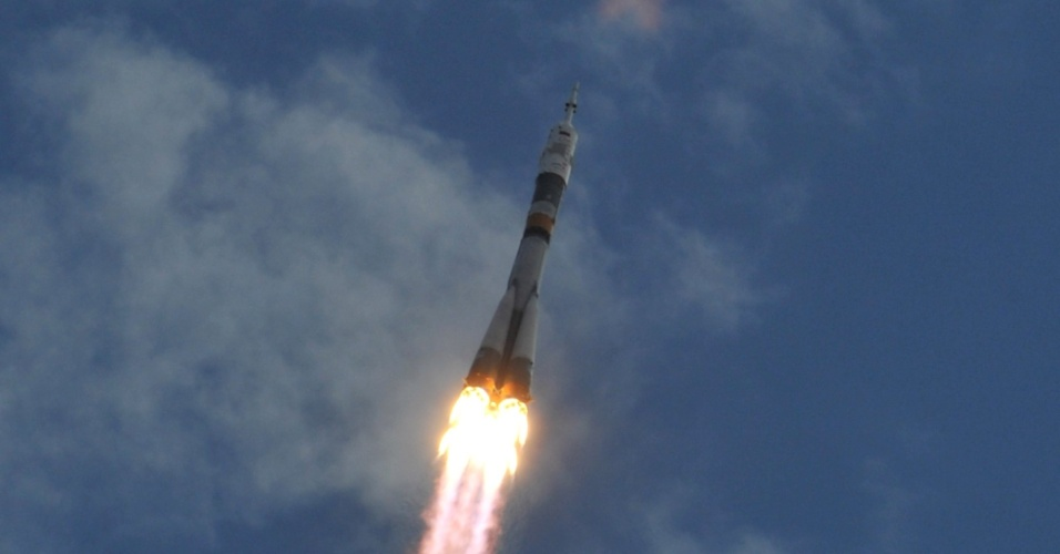 15.jul.2012 - Soyuz decola com sucesso do cosm&#243;dromo de Baikonur, nas estepes do Cazaquist&#227;o, rumo &#224; Esta&#231;&#227;o Espacial Internacional (ISS, na sigla em ingl&#234;s)