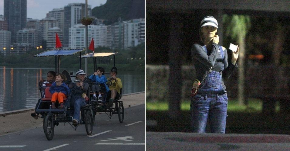 Carolina Dieckmann  passeia com o marido e os filhos na lagoa Rodrigo de Freitas, no Rio de Janeiro (15/7/12)