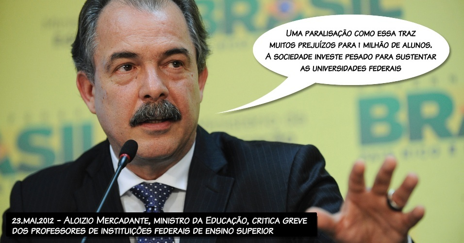 23.mai.2012 - Aloizio Mercadante, ministro da Educação, critica greve dos professores de instituições federais
