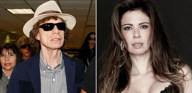O músico Mick Jagger e a apresentadora Luciana Gimenez