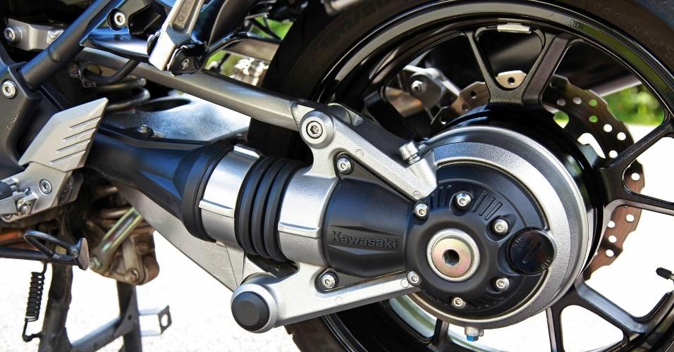 O eixo-cardã da Concours (em destaque na foto) não precisa de manutenção com lubrificações constantes e de verificação de tensão