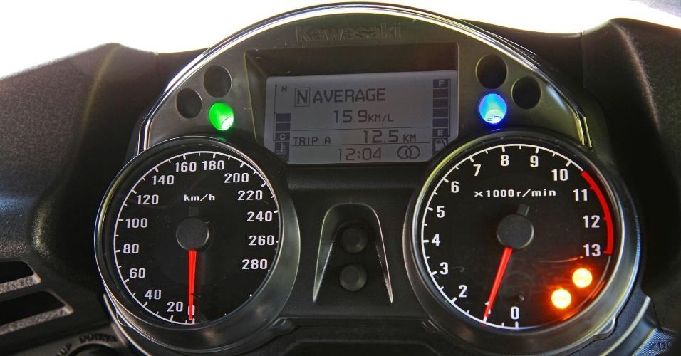 O painel tem tela de LCD e dois mostradores analógicos, com velocímetro, hodômetro e outras funções do computador de bordo