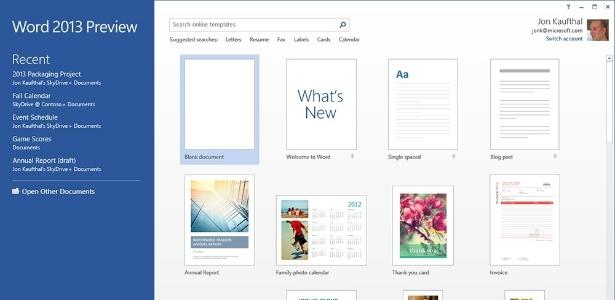 Word 2013 ganha uma nova tela inicial, com atalhos para templates e lista dos últimos documentos usados