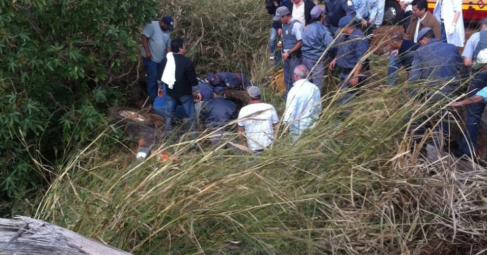 17.jul.2012 - Bombeiros socorrem homem de 80 anos que caiu numa caixa de contenção de águas da chuva em Maracaí (462 km de São Paulo). Arlindo Orlando Elsner, que é produtor rural, precisou beber a própria urina para manter-se vivo por quase três dias