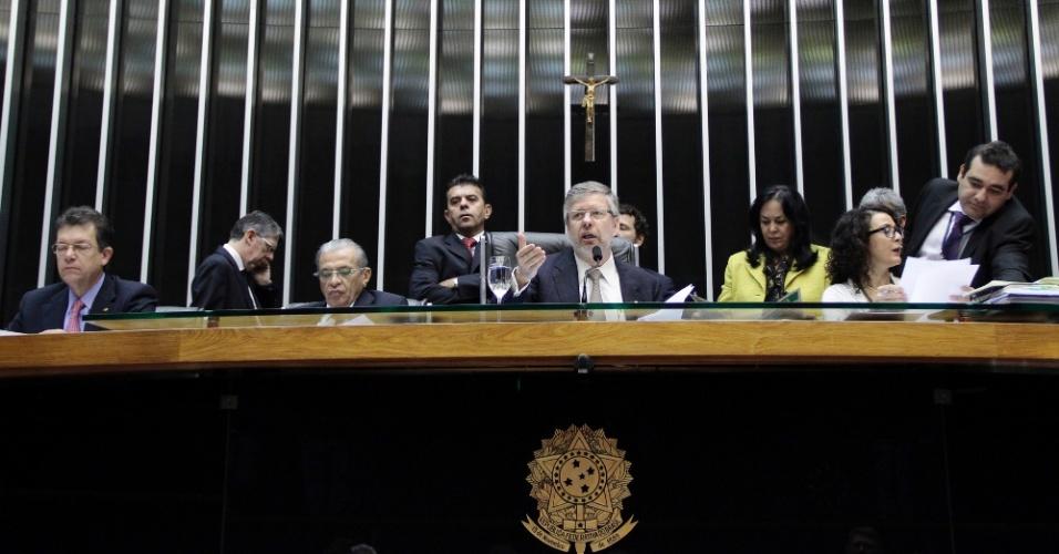 17.jul.2012 - Deputado Federal Marco Maia (PT/RS) preside sessão na Câmara dos Deputados, que aprovou o texto-base da MP 564, a segunda matéria do programa do governo federal Plano Brasil Maior, que pretende incentivar a indústria nacional e diminuirá a pressão sobre o setor da crise econômica internacional
