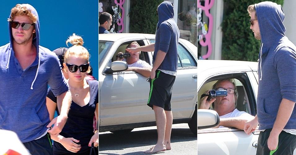Liam Hemsworth vai tirar satisfação com paparazzo após aula de pilates com a noiva Miley Cyrus, em Beverly Hills (16/7/12)