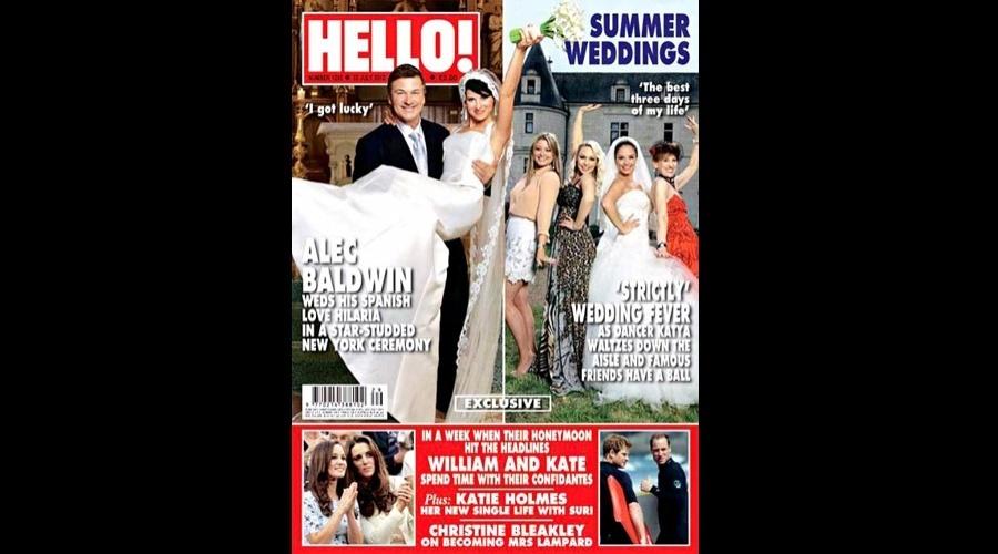 """A revista """"Hello"""" divulgou em sua capa fotos do casamento de Alec Baldwin com Hilaria Baldwin (18/7/12)"""