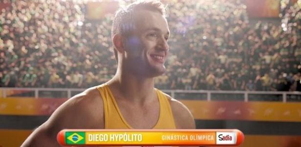 Diego Hypólito se prepara para saltar em comercial da Sadia