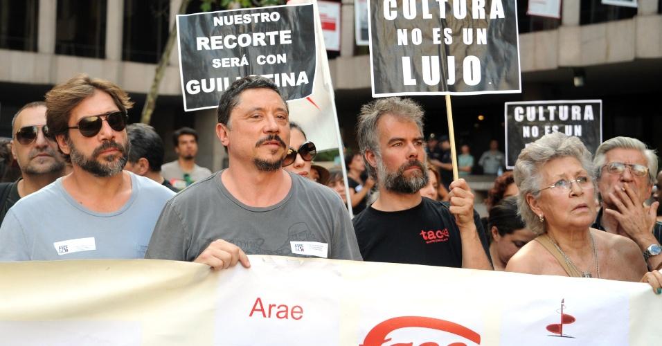 O ator espanhol Javier Bardem participou de uma passeata em Madri, Espanha, contra o atual governo espanhol (19/7/12)