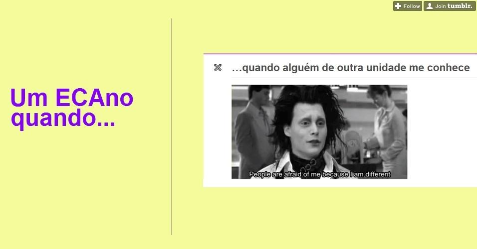 """Os alunos da ECA/USP (Escola de Comunicações e Artes da Universidade de São Paulo) também fazem piadas com a própria situação. Nessa imagem do Tumblr """"Um ECAno quando..."""", eles afirmam que """"As pessoas sentem medo deles, porque eles são diferentes"""""""